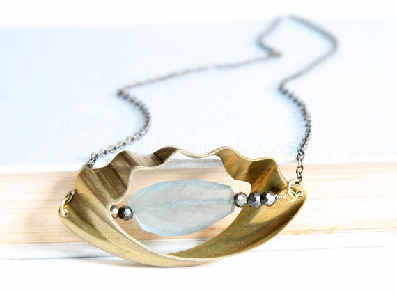 The Mermaid Pendant Necklaces of Aquamarine and Pyrite or Freshwater Pearl with Vintage Brass