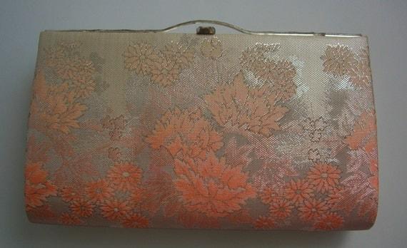 Apricot and silver brocade handbag or clutch purse, wedding purse,vintage Japanese