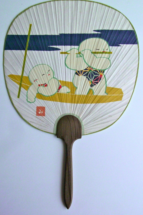 Paddle fan bamboo and paper wooden handle vintage japanese - Japanese paddle fan ...