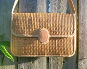 New Low Price - 1970s Vintage Straw Hemp Leather Canvas Tan Handbag Purse - Boho Hippie Natural by Earnest