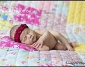 Luxury Ruffled Satin elastic baby band-newborn photography posing props in Burgundy-Polly