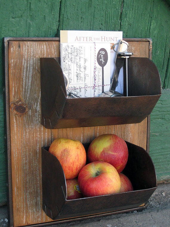 Reclaimed Metal and Wood Wall Storage Bins
