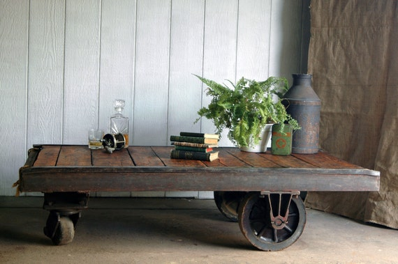 Reserved for Joy - Vintage Industrial Cart Coffee Table