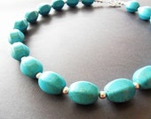 Chunky Turquoise Necklace, Faceted Barrel, Modern Statement