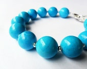 Chunky Turquoise Bracelet, Classic Round Beads, Silver, Modern Simple