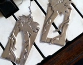 Vintage Silver Earrings - Palm Trees and Tropical Scene
