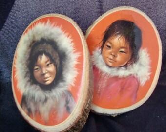 Vintage Eskimo Children Plaques