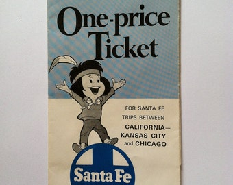 Vintage Santa Fe Train Brochure from 1960's and Train Time Tables - Chico Train Mascot