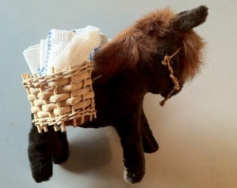 Vintage Mexican stuffed Donkey with Baskets with Linens - Donkey Collector Must Have