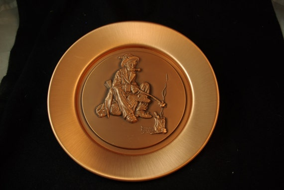 Vintage 1978 Copper Norman Rockwell Plate - THE HOBO