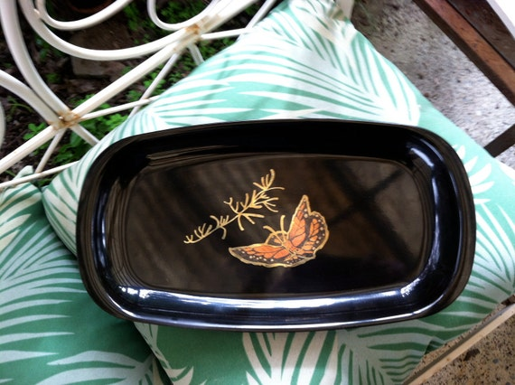 Couroc Tray - Black with Butterfly Pattern
