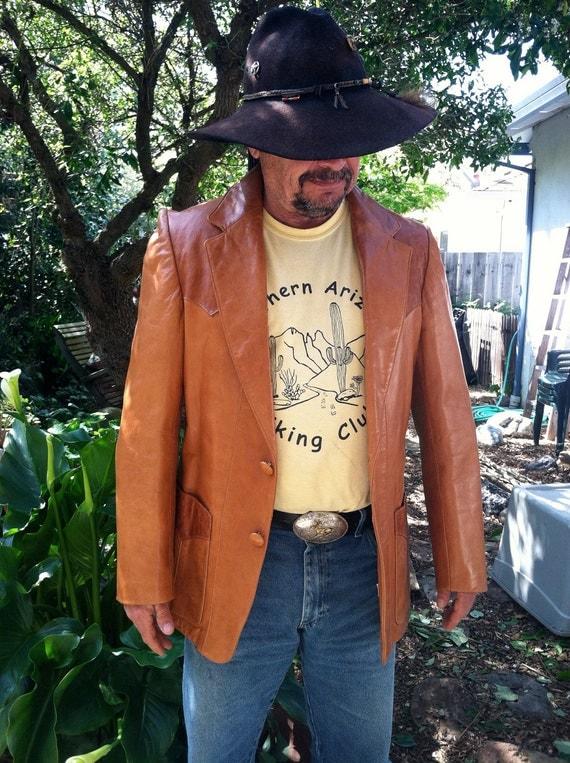 Vintage Men's Western Style Leather Jacket - Adler - Made in California