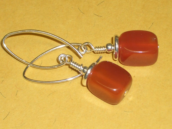 "Stone Earrings -  Carnelian Stones with Sterling Silver Heishi Beads - 1 3/4"" drop - E8"