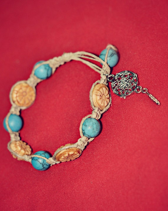 Turquoise and Bone Flower Beaded Hemp Bracelet with Dream Catcher with Feather Charm