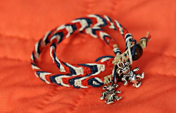 Grateful Dead Dancing Bear, Red, White and Blue Hemp Charm Bracelets