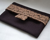 Chocolate linen pocket  tissue holder with lace..