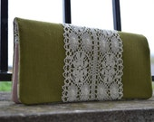 Muted Green Linen and Liberty London clutch...