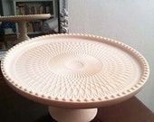 Adorable Vintage 1950's Jeanette Pink Milk Glass Cake Stand