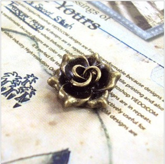 10pcs 16mm Antique Bronze Lovely rose pendant
