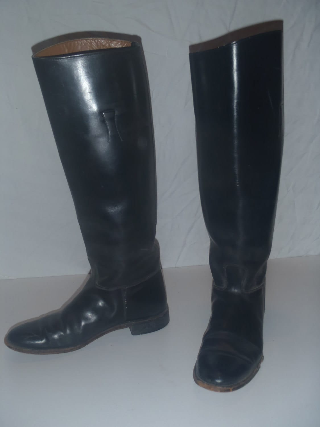 Vintage woman 39 s motorcycle cop black leather riding boots Police motor boots