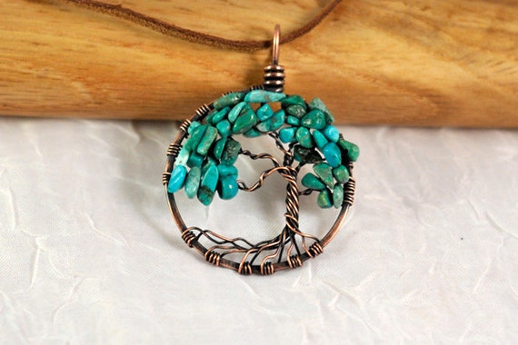 Antique Copper and Turquoise Tree of Life