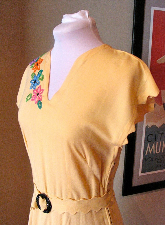 Vintage 1940s 'Buttercup Yellow ' Linen Dress with Embroidery and Scalloping