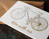 Bike with me - Letterpress Note cards