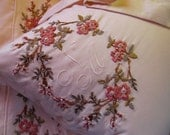 Hand Embroidered and Beaded Wedding Linens - Sheets and Pillowcases - Monogrammed