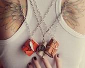 Book Necklace / Mini Leather Jounal Necklace- Matching Set of three - New Set - Best Seller Orange, Light Cream-Ivory, Light Brown