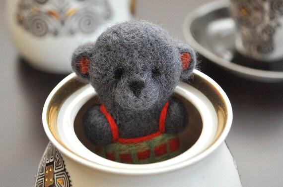 Needle Felted Dark Grey Teddy Bear magnet