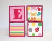 Personalized Baby Blocks - SET OF 4 - Girl - Butterflies - Ladybugs - Dots - Pink - Orange