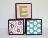 Personalized Wooden Baby Name Blocks - SET OF 3 - Girl - Buttons - Flowers - Dots - Purple