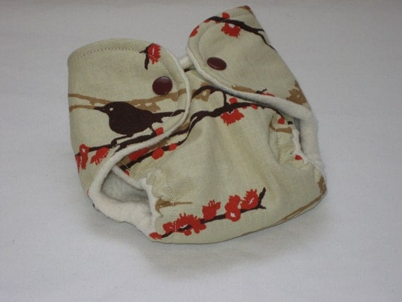 Newborn Fitted Cloth Diaper - Sparrows, fits 6-12 lbs