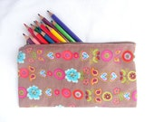 Zipper pouch, pencilcase, brown, flowers