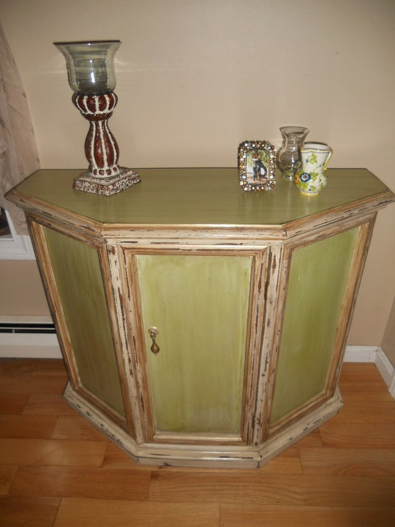 Green and White with Gold Trim Console Table