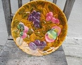 Large antique majolica  platter,circa 1940, in the golden color.