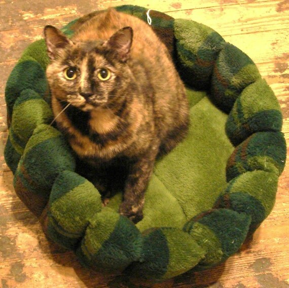 Cat bed or dog bed in green woodsy microplush 16 inch machine washable