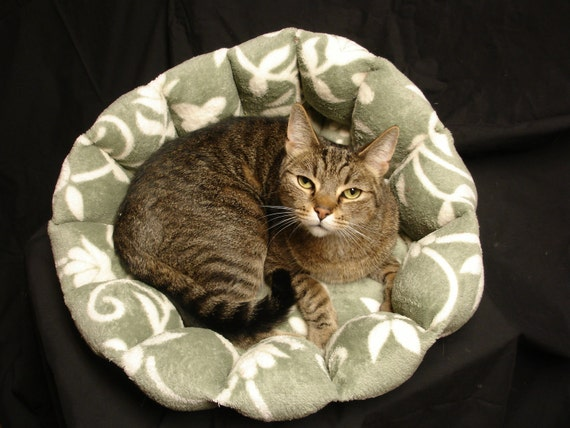 Cat bed or dog bed 17 inch in a sage green and cream vine microplush fabric with a cushioned bottom