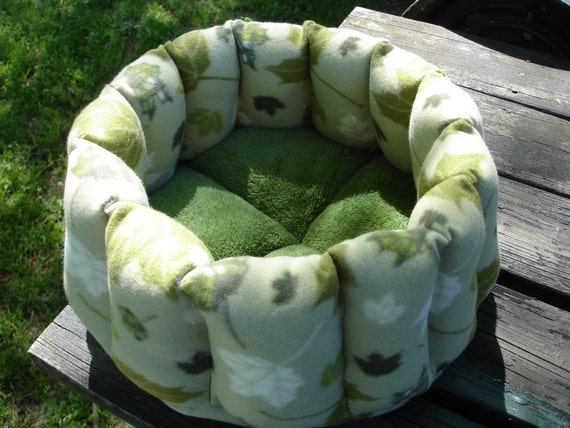 Cat or small dog bed 15 inch in green maple leaf fleece and moss green microplush