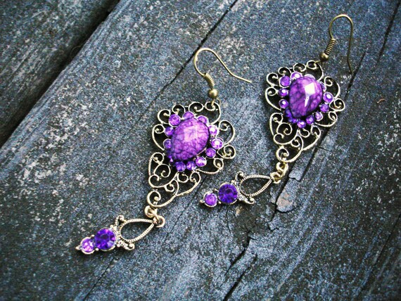 Purple earrings in antiqued bronze finish filigree lace