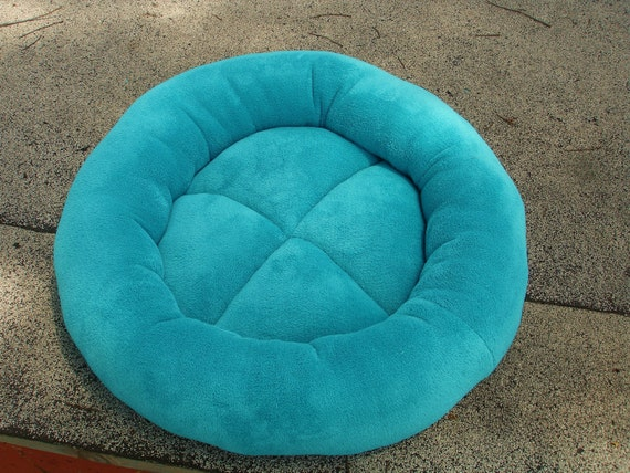 Cat bed or dog bed 23 inch in an aqua turquoise seafoam blue green microplush fabric with padded sewn in cushion