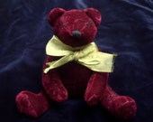 RESERVED FOR TEENE. Vintage mini teddy bear, maroon velvet, gold ribbon bow, home decor, photography prop