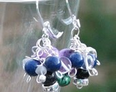 Lepidolite Quartz Malachite Lapis Goldstone Healing Protective Pain relief Positive wire wrapped Earrings