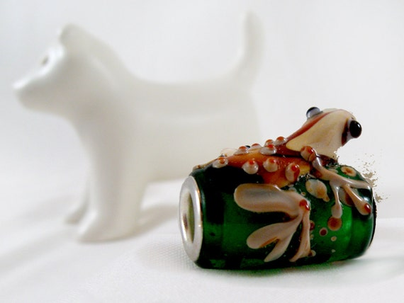 Frog Bead, Handmade Lampwork Glass Bead, Brown Frog on Green Tube, 20mm, Large Hole, 1 Pc