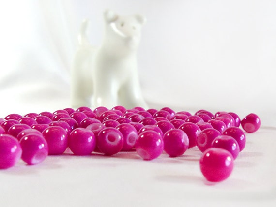 Vintage Glass Round Beads, 1980s Fuchsia Beads, 6mm, 36 Pcs, Round Glass Beads, Pink Beads