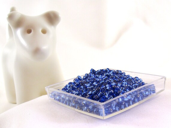 Size 11 Seed Beads, Blue Silver Lined, 40 Grams, Blue Seed Beads, Japanese Seed Beads