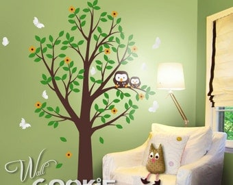 Cute Owls with Tree (Free Butterflies) - Nursery Wall Decal