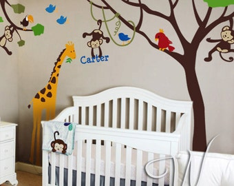 Monkeys, Giraffe, Birds and Tree with Custom Name Wall Decal