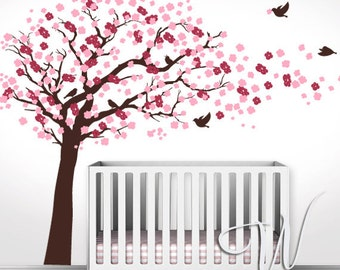 Cherry Blossom Tree with Birds  - Nursery Wall Decal