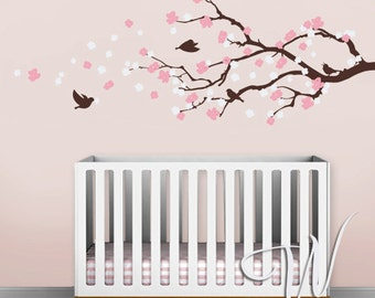 Cherry Blossom Branch with Birds  - Nursery Wall Decal